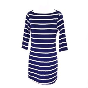 Soprano navy blue and white striped dress Medium